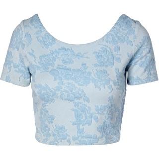 Aqua Womens Juniors Crop Top Textured Scoop Neck
