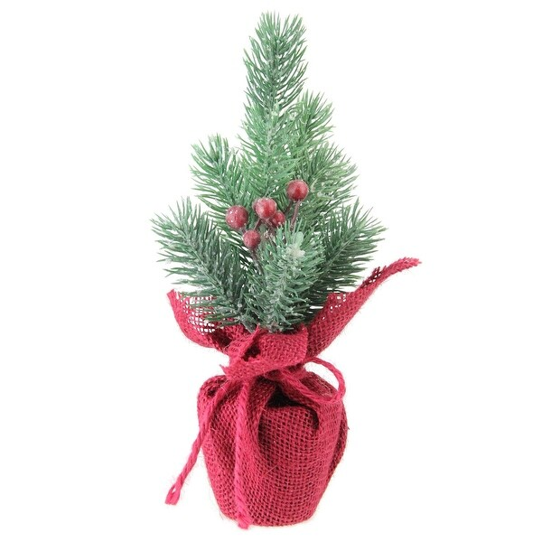 """9.5"""" Frosted Mini Pine Christmas Tree with Berries in Burgundy Burlap Pot - green"""