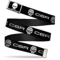 C6R Jake Skull Fcg  Chrome C6 Racing Logo Repeat Black Silver Webbing Web Belt
