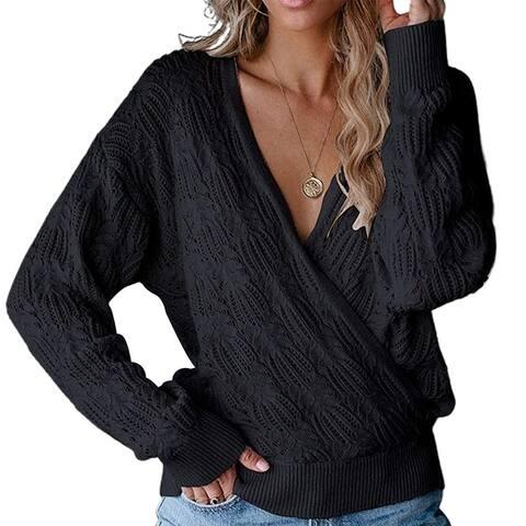 Women Deep V Neck Wrap Hollow Sweater Long Sleeve Crochet Knit Pullover Top