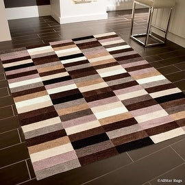 "Allstar Brown Hand Made Modern Transitional Design Area Rug with Dimensional Hand-Carving Highlights (4' 11"" x 6' 11"")"