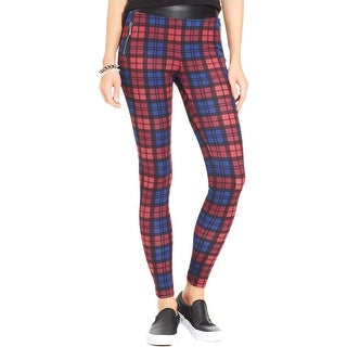 Stoosh Womens Juniors Leggings Plaid Faux Leather Trim