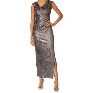Connected Apparel NEW Silver Women Size 10P Petite Metallic Sheath Dress