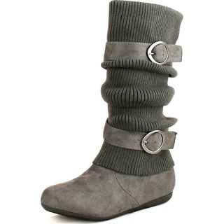 Top Moda Womens Bank-21 Sweater Slouchy Buckle Top Calf Wedge Boot