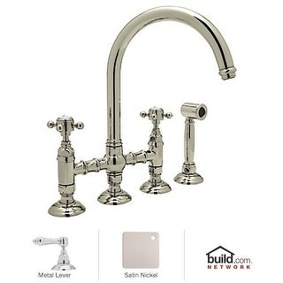 Rohl A1461LMWS-2 Country Kitchen Bridge Faucet with Side Spray and Metal Lever H