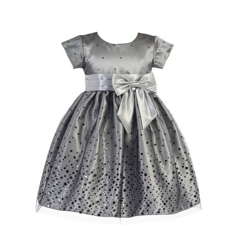 2d6d9d0c62a8 Lito Girls Silver Polka Dot Tulle Shiny Satin Bow Christmas Dress