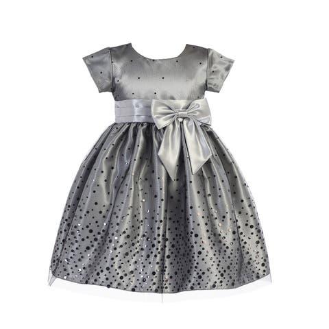 eb1b050161bc Lito Little Girls Silver Polka Dot Tulle Shiny Satin Bow Christmas Dress