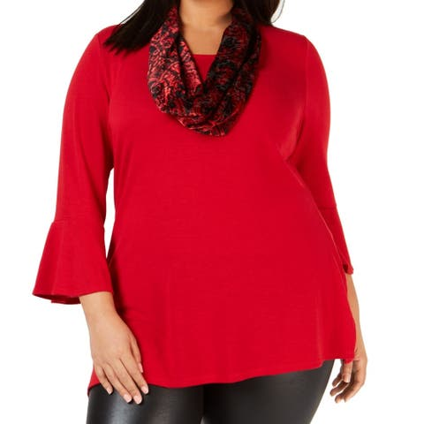 NY Collection Womens Sweater Red Size 2X Plus Pullover 2PC Velvet