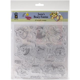 """Hot Off The Press Acrylic Stamps 8""""X8""""-Janie's Beary Fairies"""
