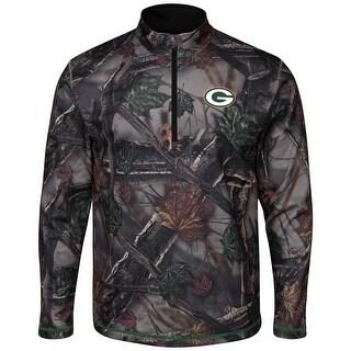 """Green Bay Packers Majestic NFL """"Woods"""" Men's 1/2 Zip Camouflage Sweatshirt"""