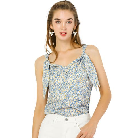Allegra K Women's Floral V Neck Knot Shoulder Cami Tank Sleeveless Blouse Top