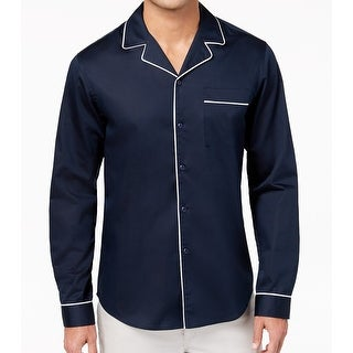 INC Navy Mens Large Button Down Tipped Pajama Shirt