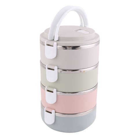 School Office Plastic 4 Layers Cylinder Food Rice Soup Storage Holder Lunch Box