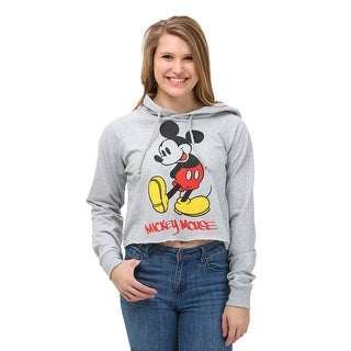 Mickey Mouse Juniors Cropped Pullover Hooded Sweatshirt