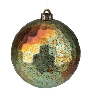 "Link to Matte Green and Bronze Shatterproof Hexagonal Textured Christmas Ball Ornament 6.5"" (165mm) Similar Items in Christmas Decorations"