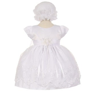 Baby Girls White Floral Embroidery Overlay Special Occasion Bonnet Dress 6-24M