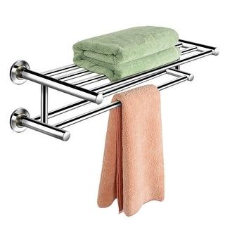 Costway Wall Mounted Towel Rack Bathroom Hotel Rail Holder Storage Shelf Stainless Steel