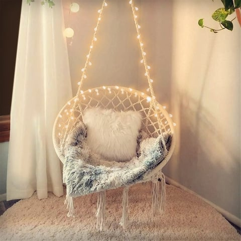 Hanging Hammock Chair with Light for Indoor/Outdoor Home Patio Deck Yard Garden Reading Leisure Lounging