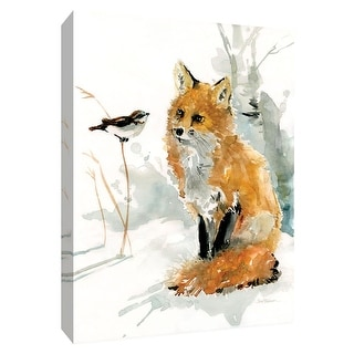 """PTM Images 9-148657  PTM Canvas Collection 10"""" x 8"""" - """"Fox and Friend"""" Giclee Foxes Art Print on Canvas"""