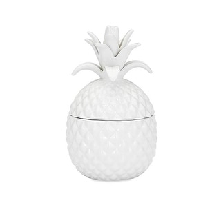 """7.75"""" Good Cheer Coconut White Pineapple Fruit Lidded Ceramic Jar Canister"""