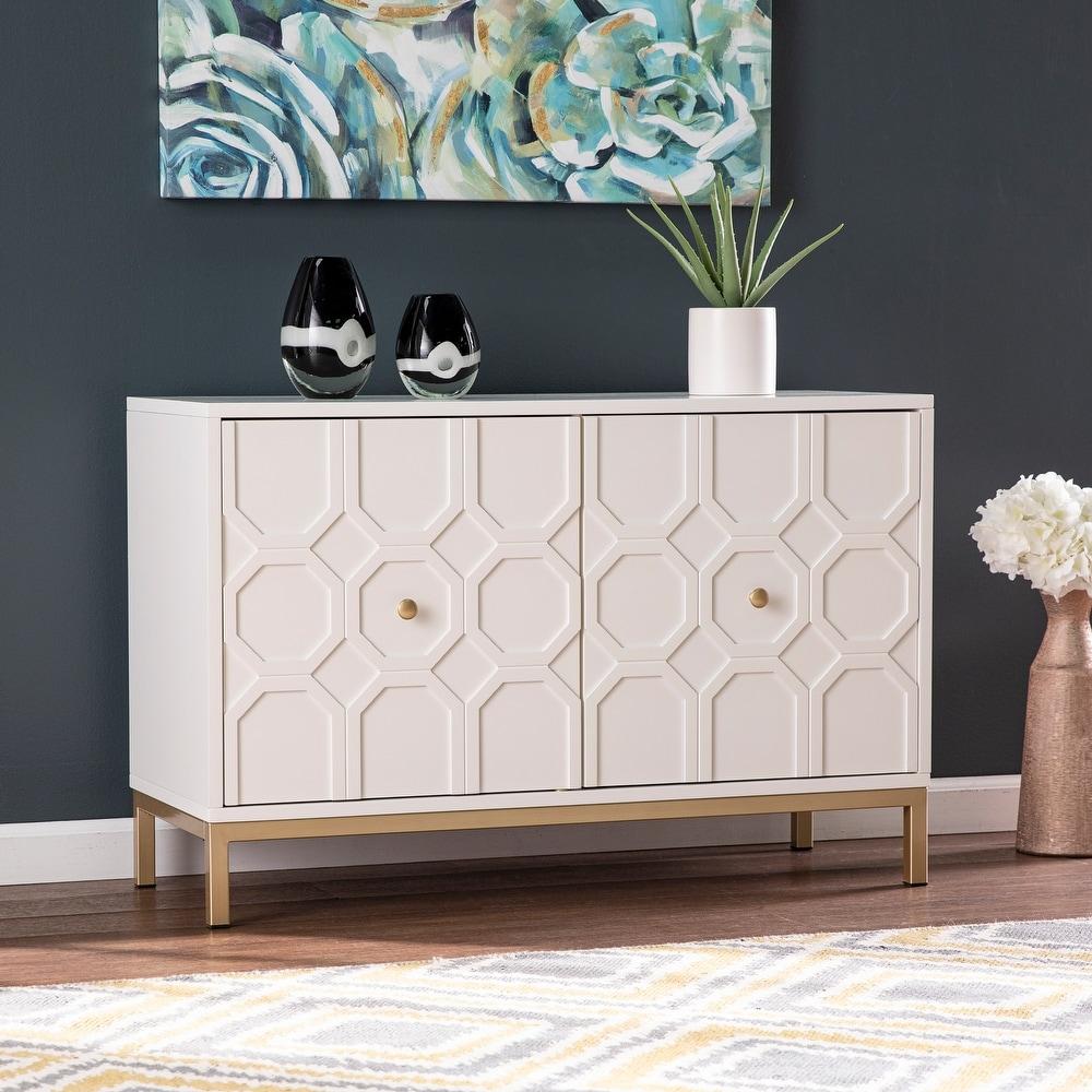 Strick & Bolton Gilday Contemporary White Wood Accent Cabinet
