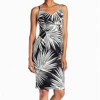 Maggy London Black Womens Size 2 V-Neck Leaf-Print Sheath Dress