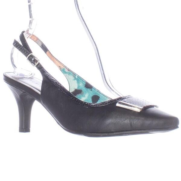 KS35 Gracelynn Pointed Toe Slingback Heels, Black - 9 us