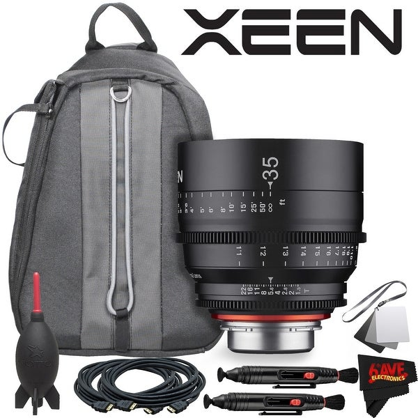 Rokinon Xeen 35mm T1.5 Lens for Canon EF Mount With Professional Lens Backpack and Accessories - black