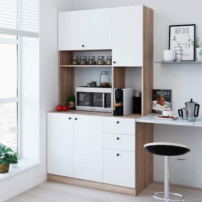 Living Skog 71'' Pantry Kitchen Storage Cabinet White Large For Microwave