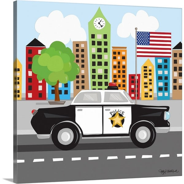 """Police Car"" Canvas Wall Art"