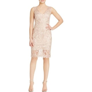 Tadashi Shoji Womens Petites Cocktail Dress Lace Metallic