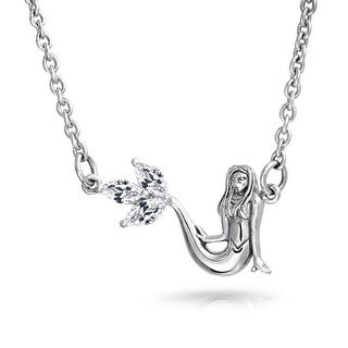 Bling Jewelry .925 Silver Nautical Mermaid Pendant Necklace Marquise CZ