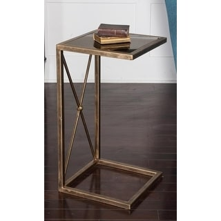 "25"" Open Concept Antique Gold Metal and Black Glass Side Accent Table"