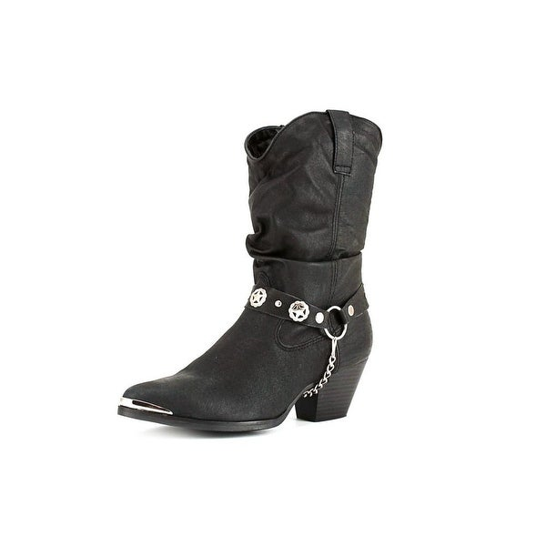 Dingo Pig Slouch w/ Harness Women  Pointed Toe Leather Black Western Boot