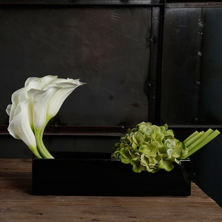 G Home Collection Luxury White Lily and Green Hydrangea Flower Arrangement