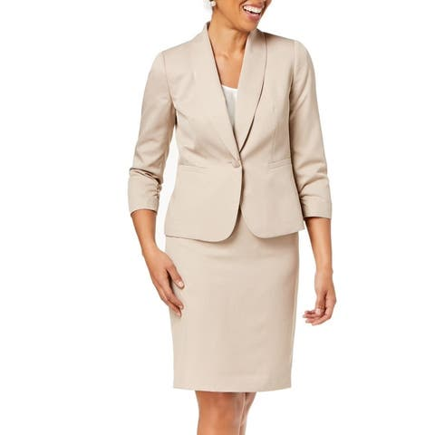 Le Suit Women's Skirt Suit Classic Beige Size 14 1 Button Shawl Collar