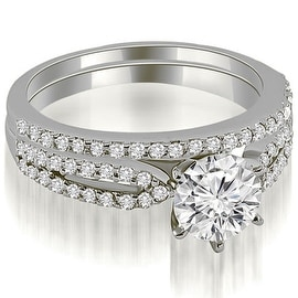 0.97 cttw. 14K White Gold Cathedral Split Shank Round Diamond Bridal Set