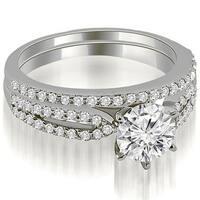 1.22 cttw. 14K White Gold Cathedral Split Shank Round Diamond Bridal Set