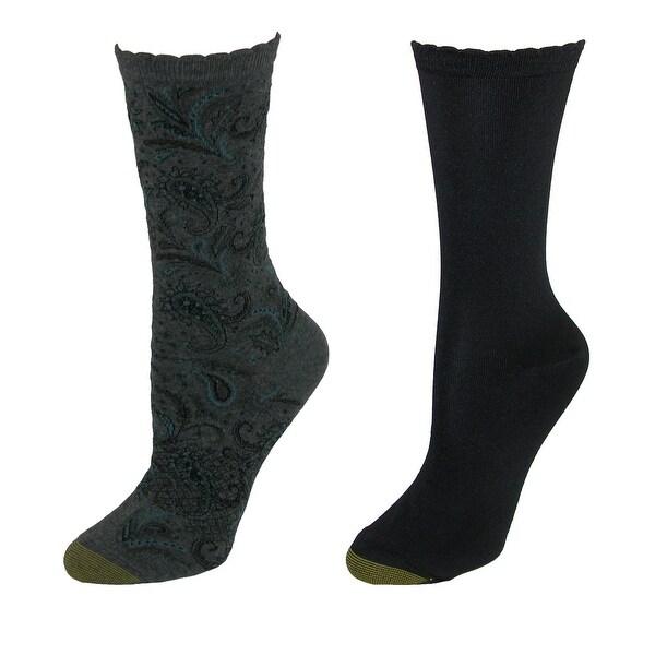 Gold Toe Women's Paisley Flat Knit Dress Socks (2 Pair Pack)
