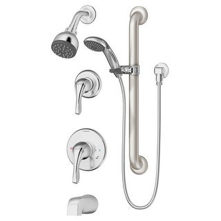 Symmons 9606-PLR-1.5  Origins Tub and Shower Trim Package with Single Function Shower Head and Rough In Valve with Double Lever