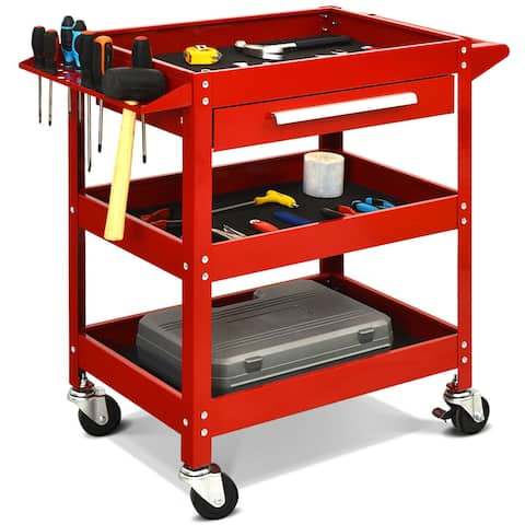 Three Tray Rolling Tool Cart Mechanic Cabinet Storage ToolBox Organizer w/Drawer