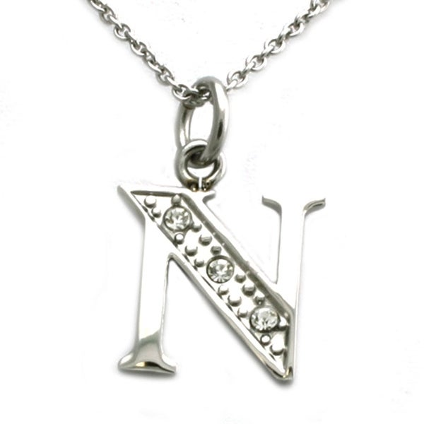 Stainless Steel Alphabet Initial Pendant w/ CZ Stones - Letter N - 18 inches