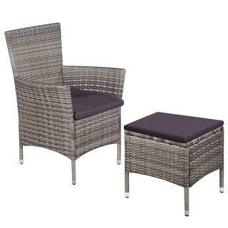 vidaXL Outdoor Chair and Stool with Cushions Poly Rattan Gray