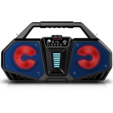 Technical Pro Wireless Rechargeable LED Bluetooth Boombox Speaker w USB/SD inputs and Carry Handle, Portable Stereo for Camping,