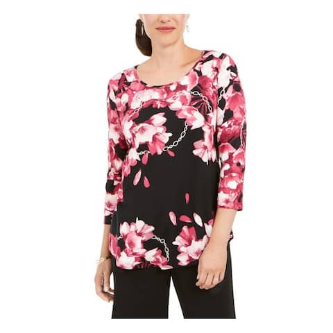 JM COLLECTION Womens Black Printed 3/4 Sleeve Scoop Neck Top Size XS