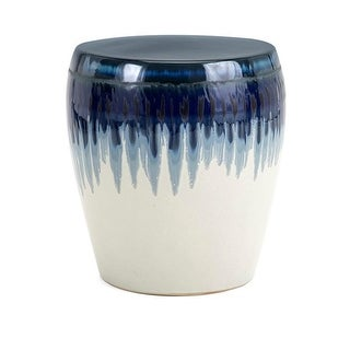 """15.25"""" Deep Ocean Blue and Ivory White Ombre Decorative Patio Garden Stool"""