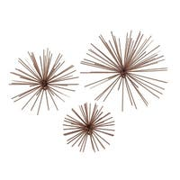 Set of 3 Copper Finish Bursting Metal Star Wall Hangings