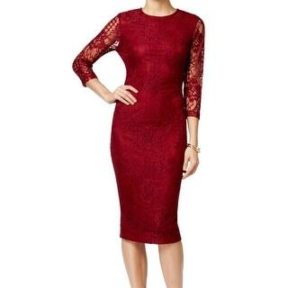 Jessica Simpson NEW Red Women's Size 4 Sheath Illusion Lace Midi Dress