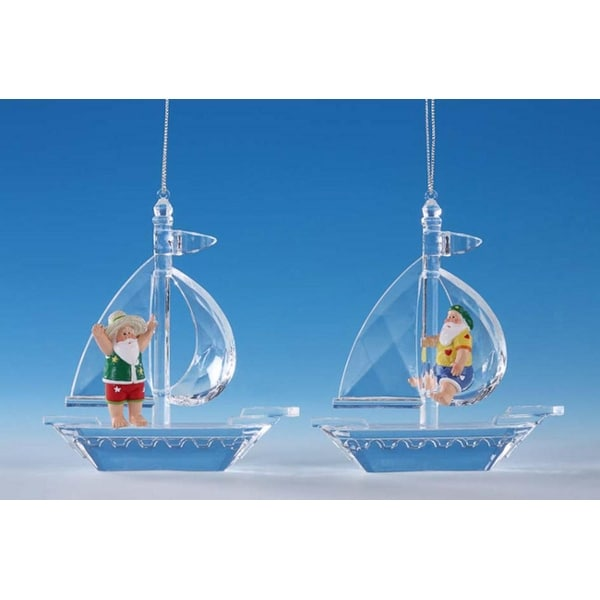 """Pack of 8 Icy Crystal Whimsical Santa Sailboat Christmas Ornaments 4.5"""""""