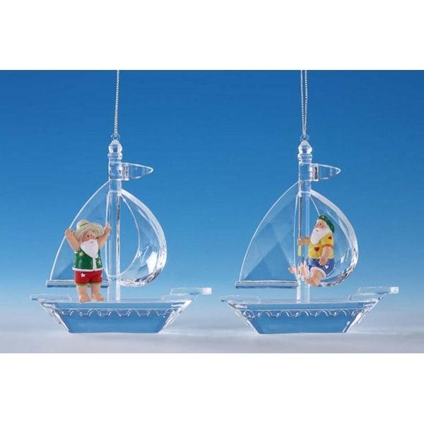 "Pack of 8 Icy Crystal Whimsical Santa Sailboat Christmas Ornaments 4.5"" - CLEAR"